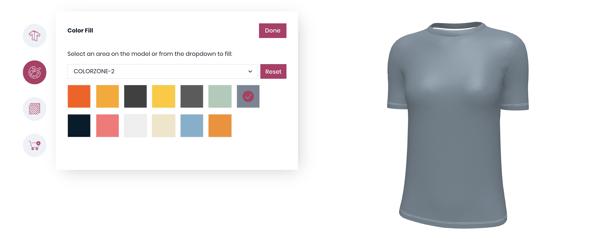 3d configurator for custom women t-shirt
